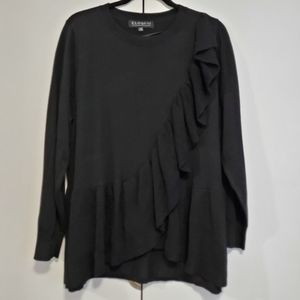 Eloquii NWT Black sweater with ruffle size 18/20